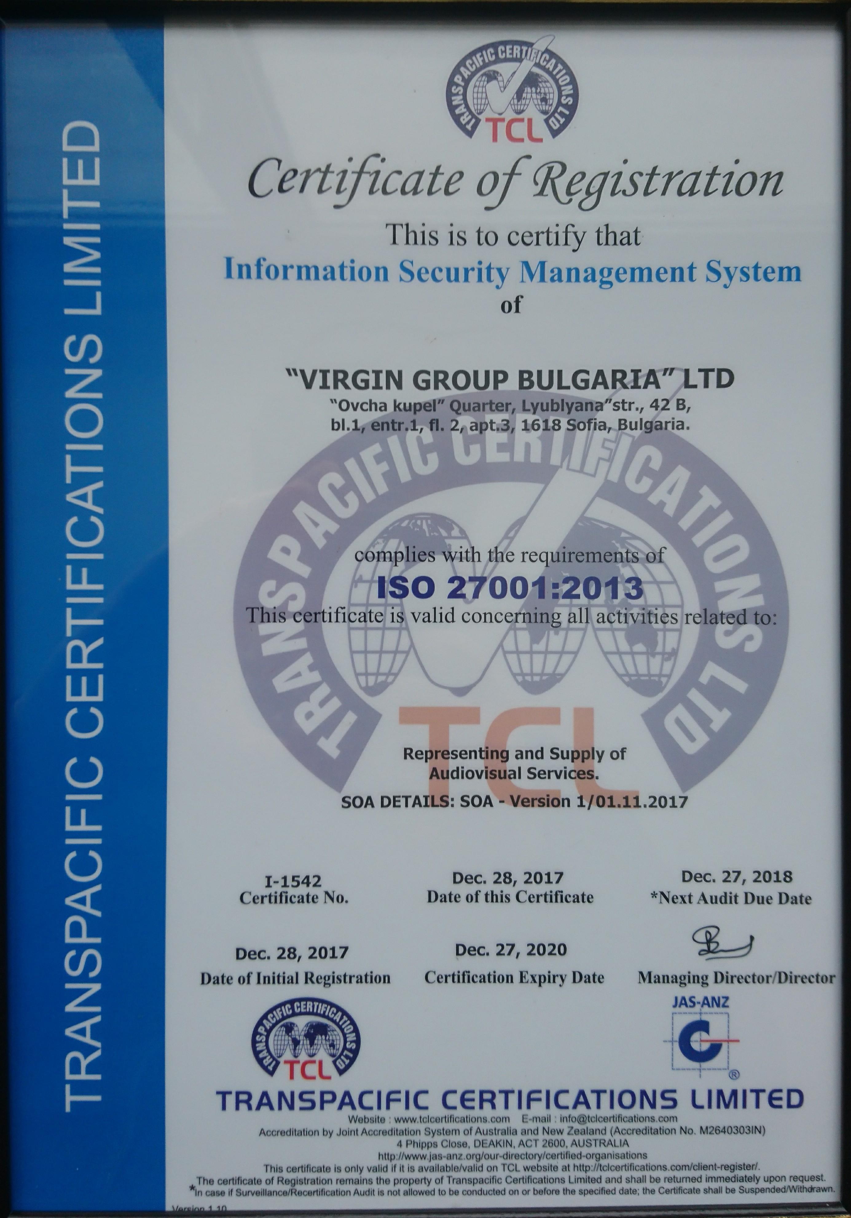 Върджин Груп България успешно премина сертификация по ISO14001 и ISO27001